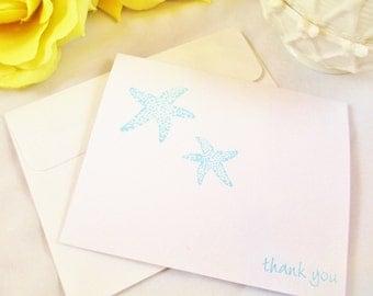 10 Beach Wedding Thank You Cards - Wedding Cards - Destination Wedding Cards - Starfish Card