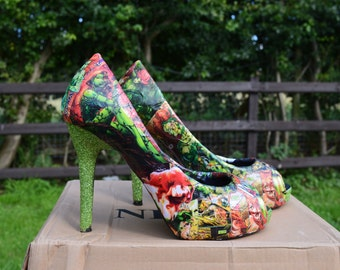 Custom Made to order Poison Ivy Glitter Heels