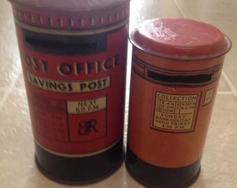 2 Vintage Tin Banks Made In England