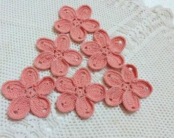 6 PCS Crochet Flower Appliques / Crochet Embellishment /Crochet Motif- Peach
