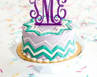 15 Colors Available, Monogram Cake Topper, Wedding cake topper, Monogram cake, acrylic cake topper, birthday cake topper, monogram cake top