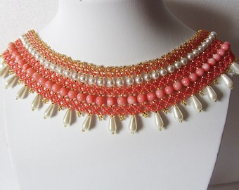 Necklace Tenderness - Necklace Handmade – Original, elegant necklace with natural pink coral in retro style. - Bead weaving - unique