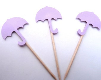 24 Lavender Umbrella Baby Shower Toothpick Cupcake Toppers, Food Picks, Theme Party Picks