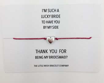 Thank you for being my Bridesmaid .. Friendship Wish bracelet on a keepsake card chose colour and charm