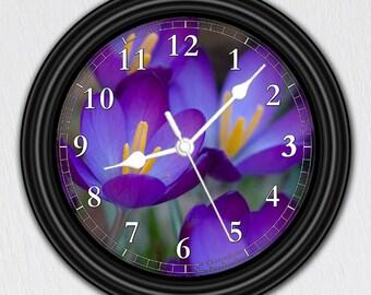 Crocus Flower • Unique Wall Clock • Handmade Decor • Floral Decor