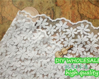 lace fabric embroidery both sides with daisies floral fabric - one yard Organza
