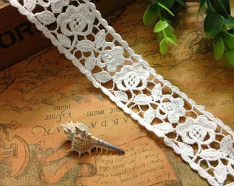 White water soluble lace trim , retro rose lace trim, crochet lace trim, rose flower lace trim 3.5cm wide