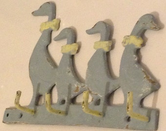 Brass Duck Hooks - Vintage Salvaged Upcycled Small Brass Shabby Chic Duck Hooks