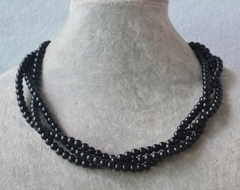 black pearl neckalce,triple strands Pearl black bead Necklace, pearl Necklaces,6mm Black Glass bead Necklace,Wedding bridesmaid necklace