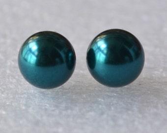 big teal pearl earrings, 10mm teal bead earring,round pearl teal stud earrings,bridesmaid earrings,Teal Glass Pearl earrings
