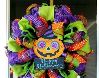 CLEARANCE! RTS Happy Halloween Pumpkin Deco Mesh Door Wreath **Ready to ship**