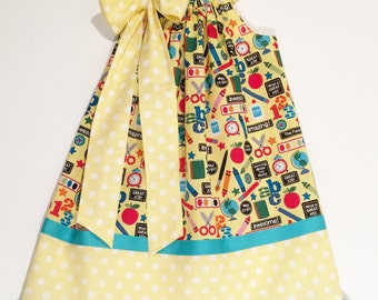 Back Too School Pillowcase Dress, Made To Order Sizes 6M-5