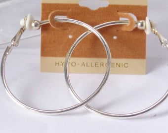 Clip-on Earrings Clip Hoop Earrings Silver Plated 2 inch Hoop Earrings Hypo-Allergenic Clip on Earrings Vintage Clips