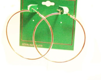 Sterling Silver HOOP earrings Hypo-Allergenic 2.25 inch Pierced Hoop Earrings