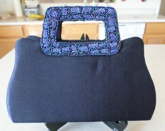 Vintage Blue Satin Evening Bag with Beaded Handles