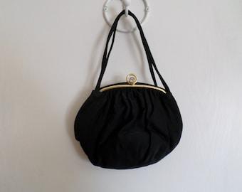 Vintage Black Satin Evening Handbag 1960's