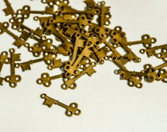 Miniature Brass Skeleton Key ~ 3/4 inch