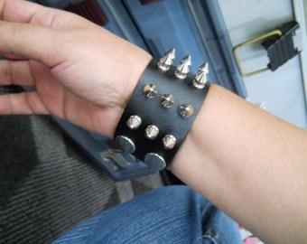 NEW, Leather Spike Bracelet