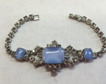 Vintage Blue and Clear Rhinestone Bracelet- Free shipping