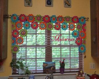 Curtains Ideas crochet curtain patterns valances : Crocheted valance | Etsy