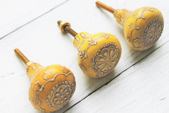 Wood Summer Yellow Flower Knobs Hand Painted Knobs Summer