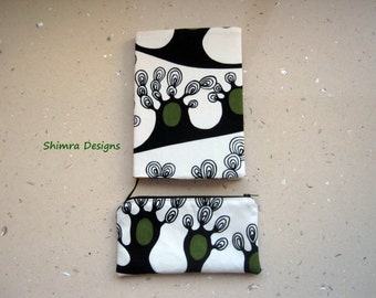 Trees of Dreams Set of a Fabric Covered Notebook and a Pencil Case/Cosmetics Pouch. 100% Cotton Fabric, Fully Lined. Fits A5 Notebook