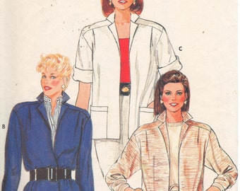 """Butterick 6463, Sz 14/Bust 36"""". Vintage 80s Fast & Easy Ladies Jacket w/ Front Button closing or Open Front, choice of long or short sleeves"""