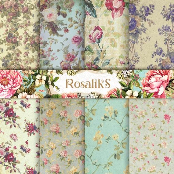 Floral Digital Paper Pack Vintage Paper Backgrounds By