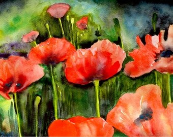 Poppies - Watercolor Print