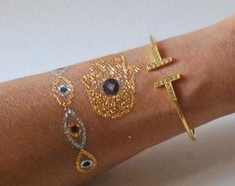 T Bangle Bracelet, Cubic Zirconia, Celebrity Bangle Bracelet ,Pink Rose Gold Plated , Sterling Silver Bracelet
