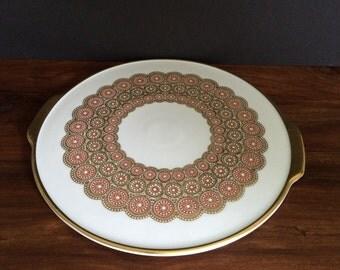 Vintage PMR Jaeger & Co. Gold Cake Plate Bavaria Germany
