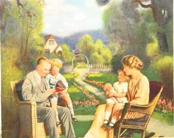 Original Vintage Rudolph Family Portrait in the Garden Calendar Print