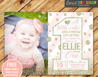 BIG ONE Pink and Gold Birthday Invitation - Printable - FREE pennant banner and thank you card with purchase
