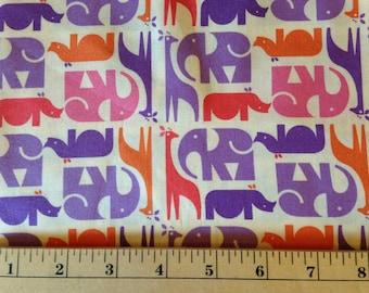 ZOO MENAGERIE by Eleanor - Fabric - Animal Stripe - Free Spirit - Elephant - Giraffe - Safari - Rhino - Kids Quilting