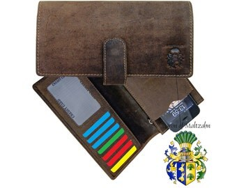 Men's wallet BERGGRUEN with Iphone-compartment leather brown - BARON of MALTZAHN