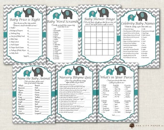 Teal Elephant Baby Shower Games - Teal Baby Shower Games, Teal Elephant Baby Shower Games, Teal and Gray Elephant Baby Shower Games
