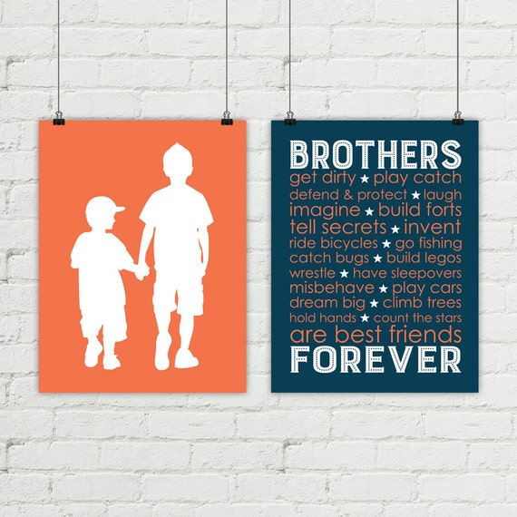 kids wall art - brothers bedroom decor - big brother little brother ...