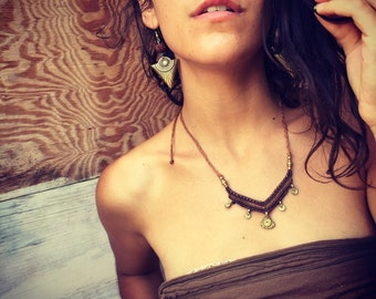 Tribal SET earrings + necklace TRIBAL jewelry bohemian gipsy jewelry macrame necklace artofgoddess