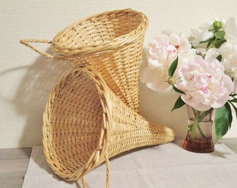 Pair of Woven Hanging Baskets, Funnel Shaped Baskets, Vintage Wicker Woven Basket, Set of 2 Baskets @113