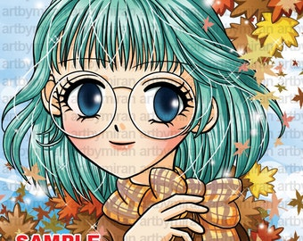 Digital Stamp-Autumn Mindy, Big eyed girl, Anime, Manga, cute image, glasses girl, Coloring page, DIGITAL FILE, instant download