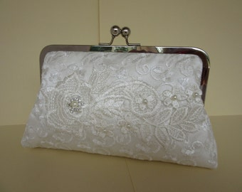 Wedding clutch bag,  ivory lace clutch bag, bridal bag with lace and diamante