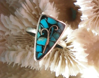 Native American Turquoise Silver Inlay Ring - 4009
