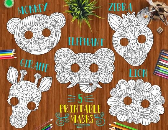 Items similar to Safari Animals Printable DIY Masks - cute ...