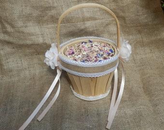 Flower girl basket. Wedding flower basket.