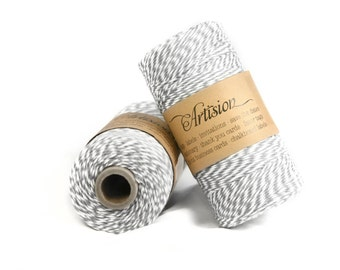 Gray and white cotton bakers twine 240 yards 4 ply made in USA