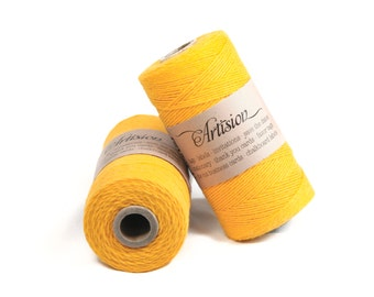 Sunflower Yellow solid color cotton bakers twine 240 yards 4 ply made in USA