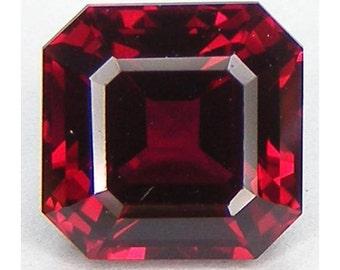 Excellent Cut Asscher 8x8 mm. Pigeon Blood red ruby Lab corundum Loose Gemstone