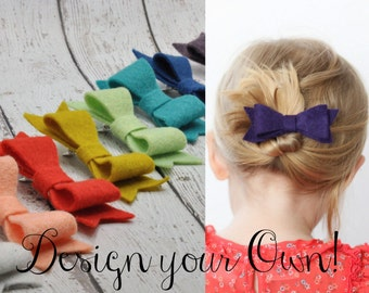 Wool Felt Hairbows 3pack:DESIGN YOUR OWN