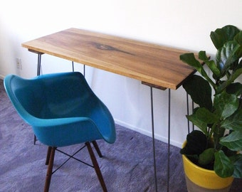 """Mid Century Modern/Industrial Wood desk with hairpin legs 47.5"""" X 20"""" X 32"""""""
