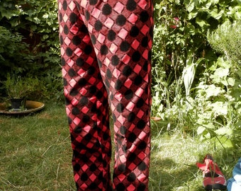Black & Red Harlequin Pattern Italian Jeans (34 Inches 87cm waist)